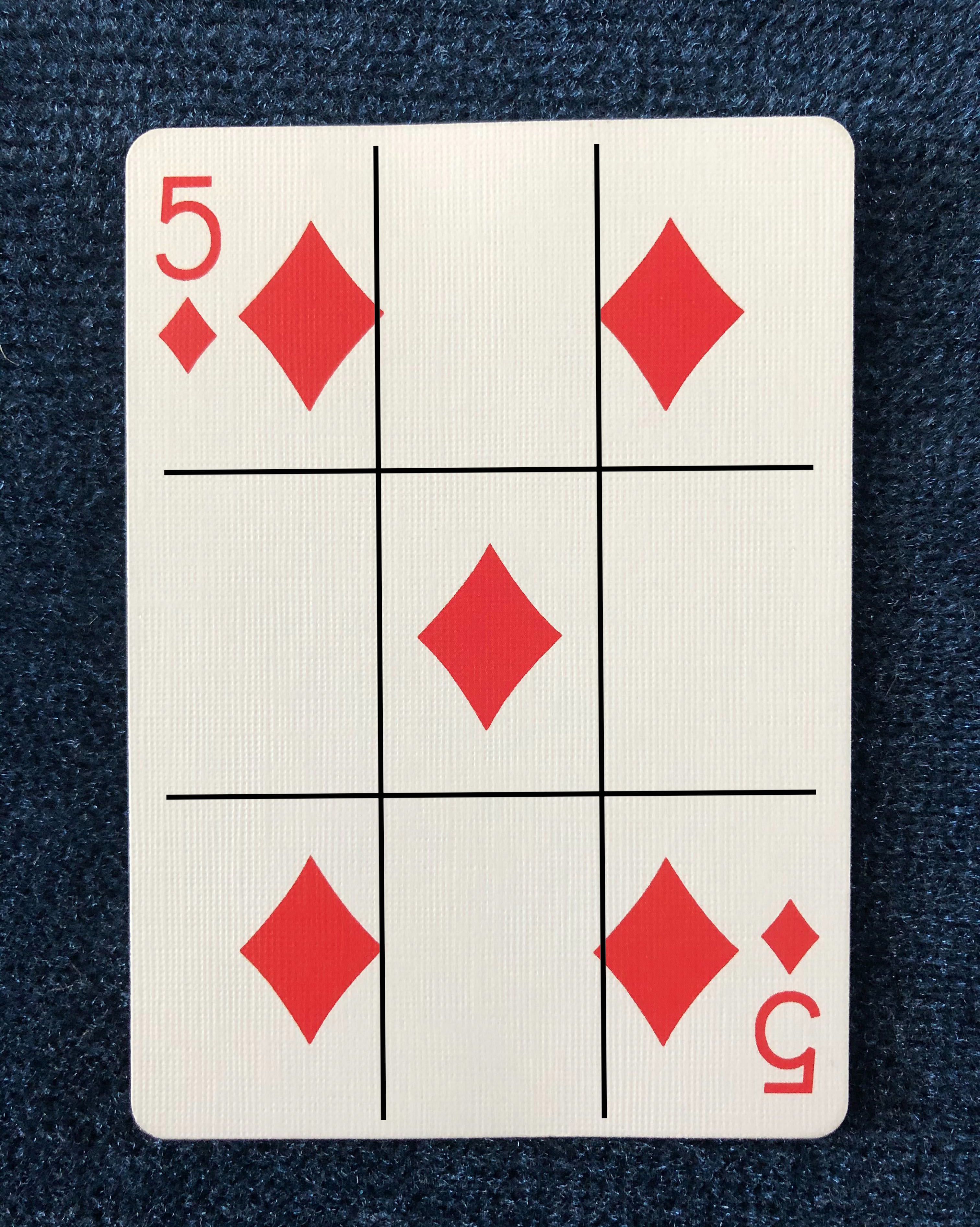 5 of Diamonds from The Dapper Deck Playing Cards from Vanishing Inc. is used for an easy mind reading card trick