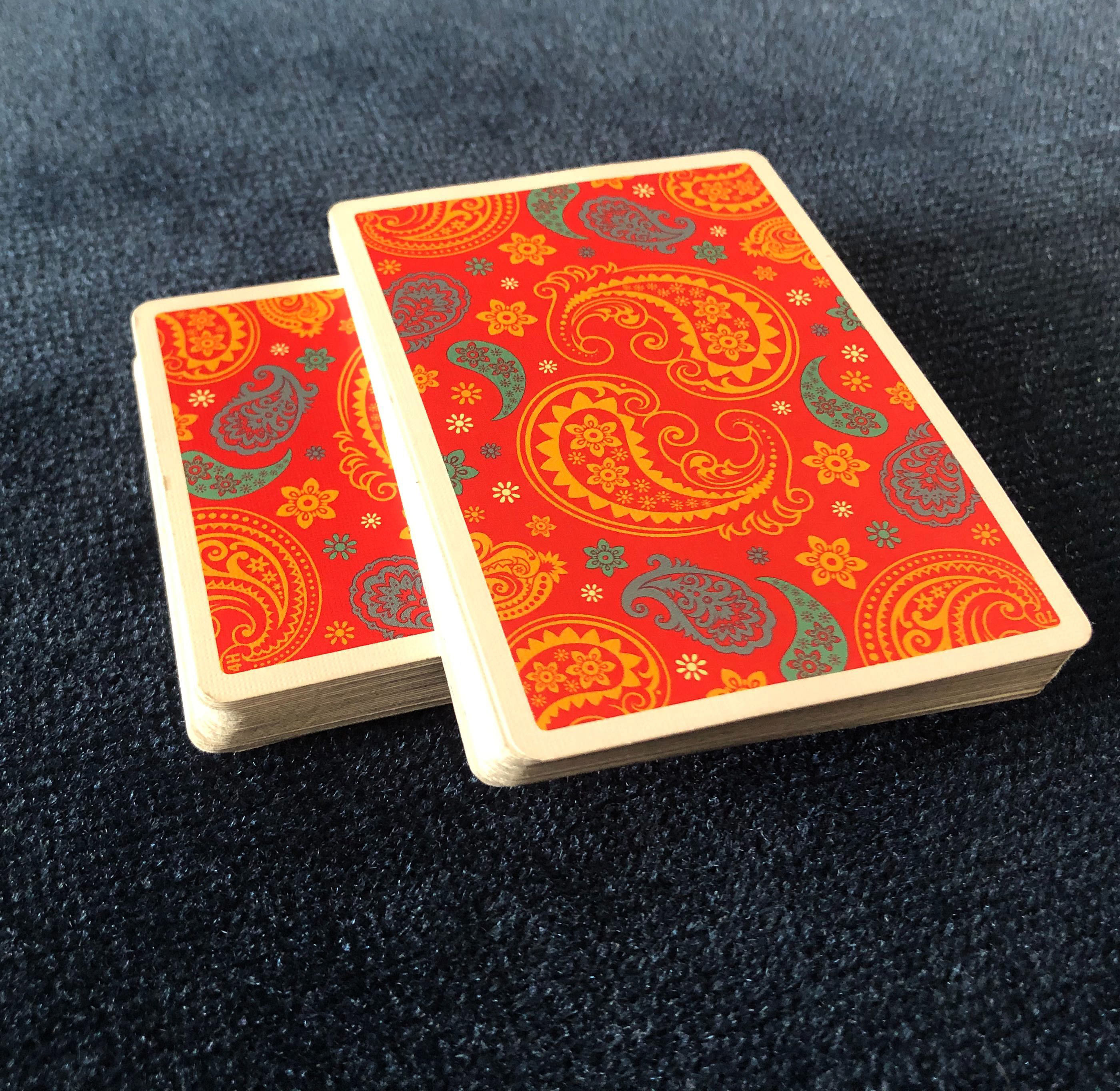 The Dapper Deck Playing Cards from Vanishing Inc. are used to before an easy card trick with the cross cut force