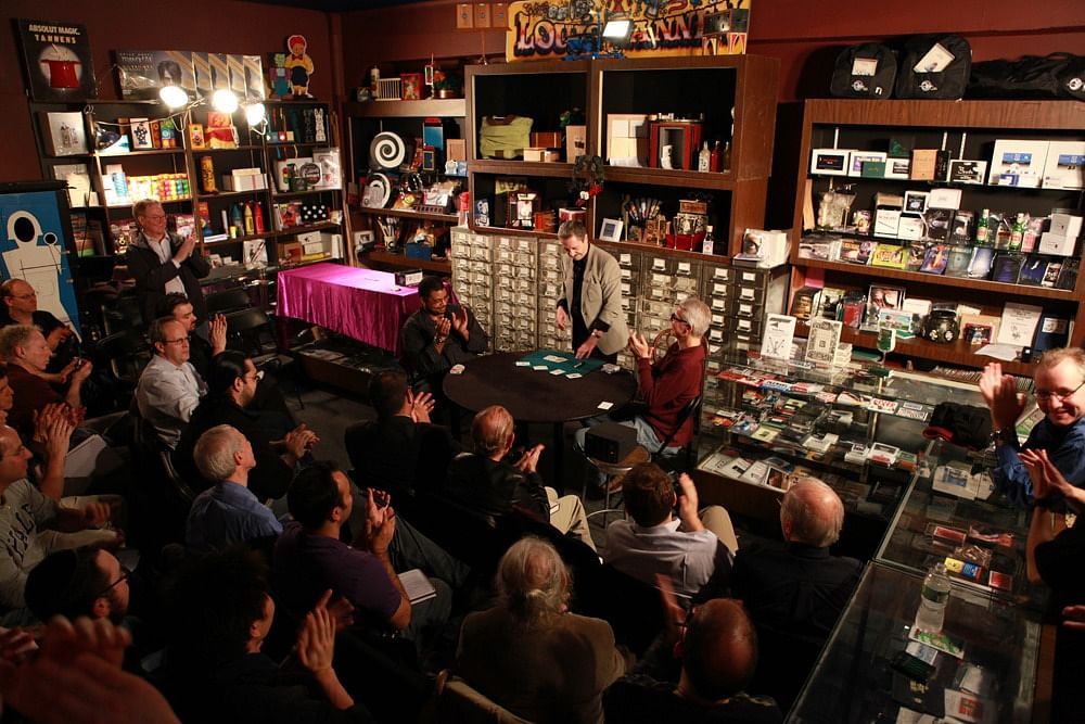 Local magicians attend a magic lecture at Tannen's Magic Shop in New York City