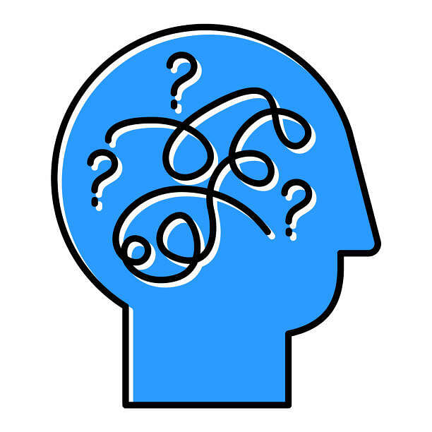 Brain teaser cartoon head with question marks inside and confusion