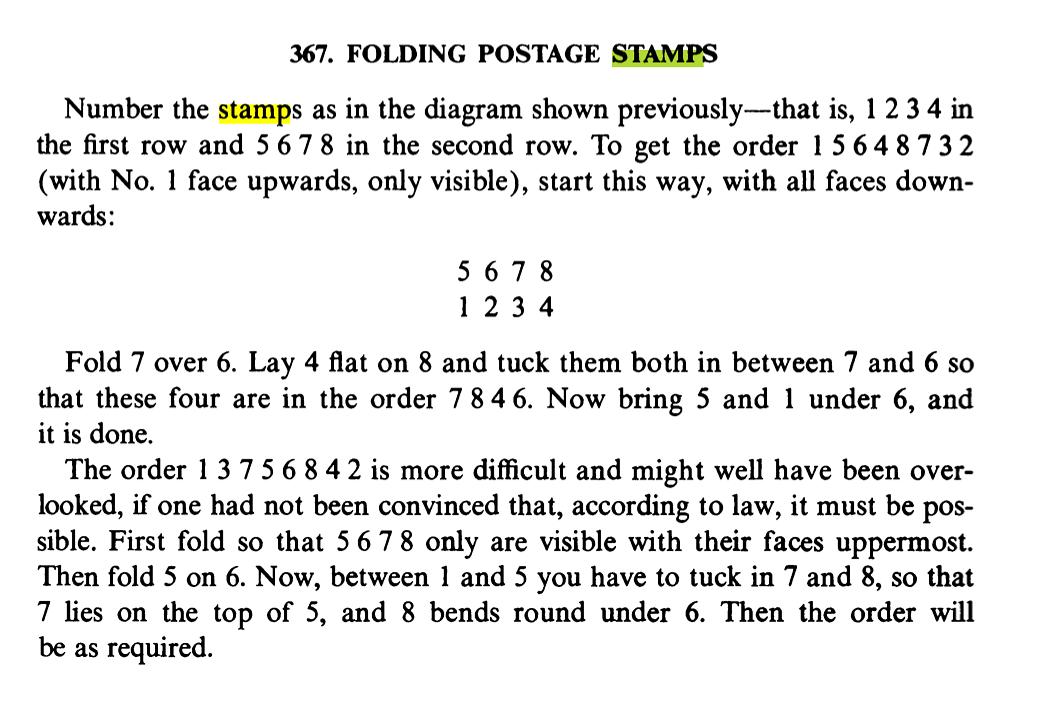 Dudeney's Stamp Folding Puzzle
