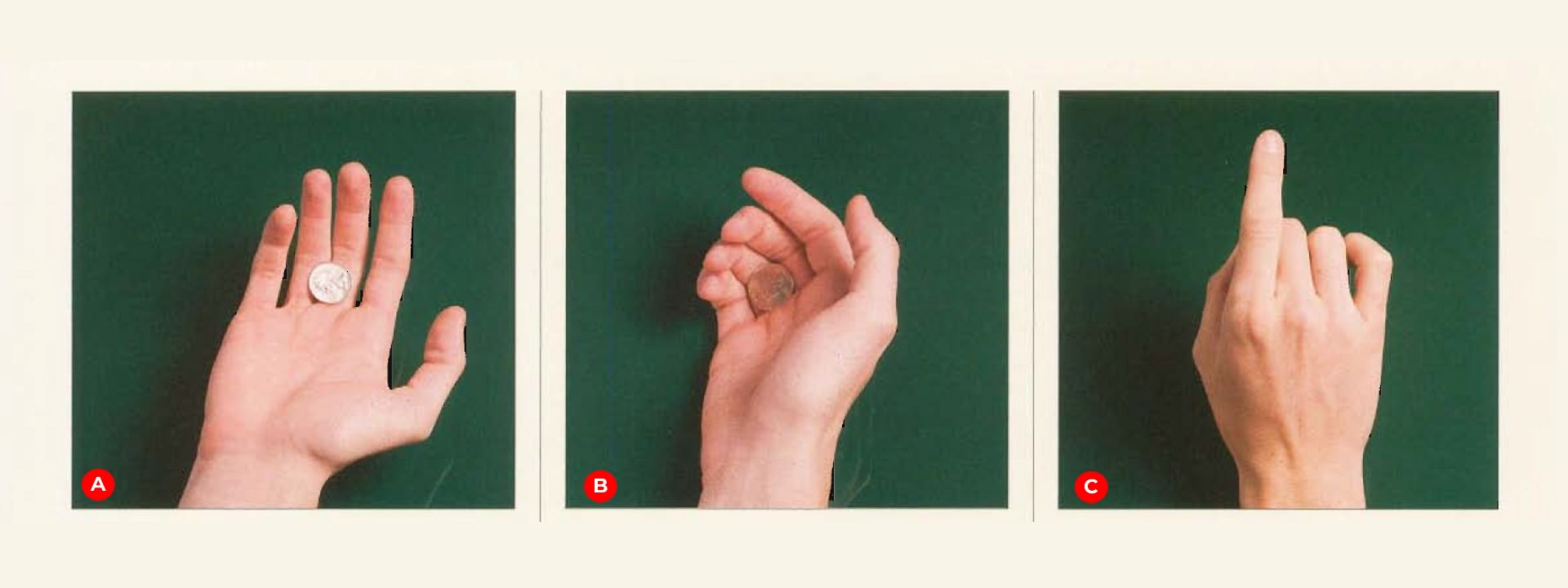 Magician joshua jay shows how to do a beginner coin magic sleight of hand move known as the finger palm
