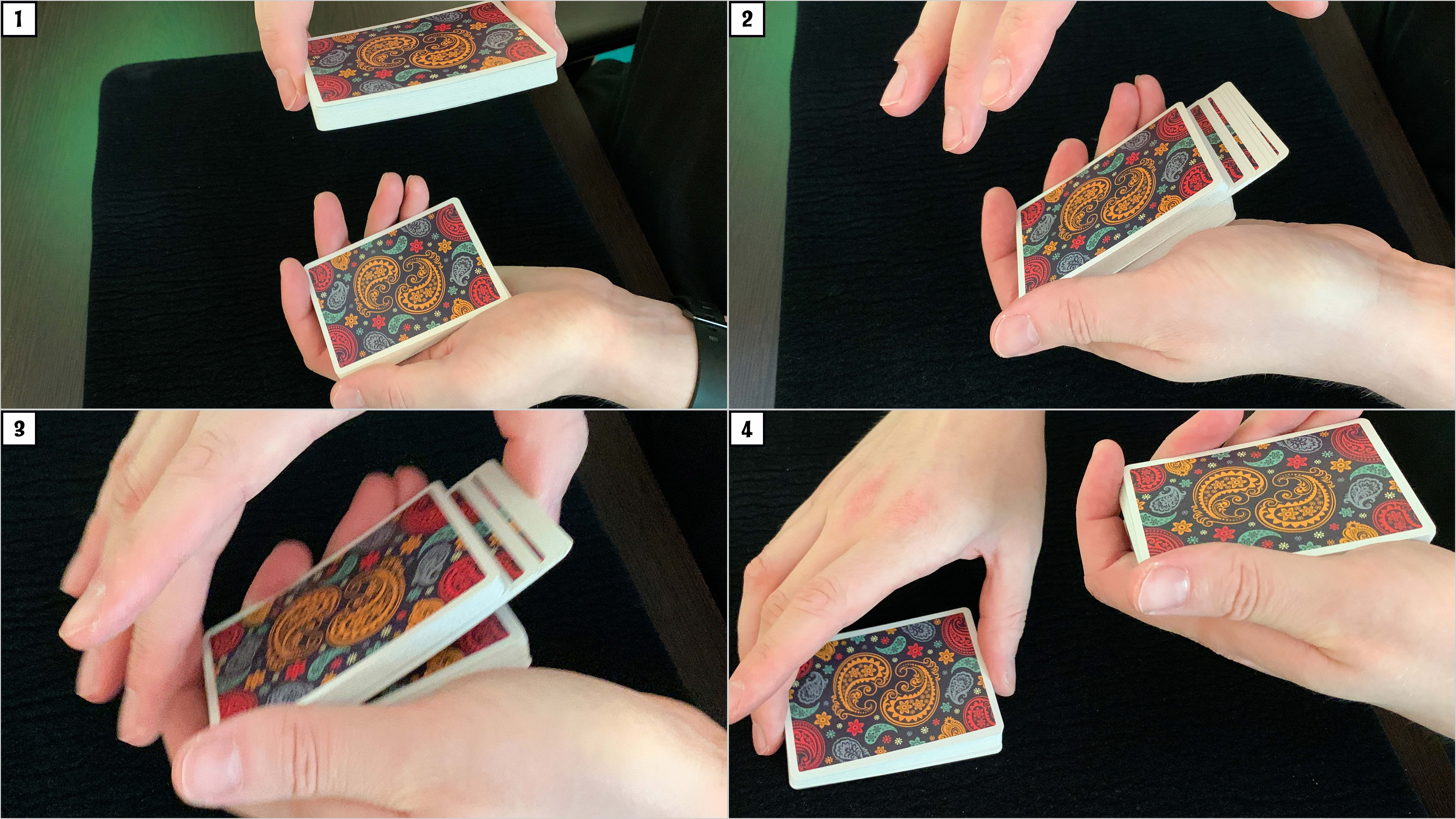 Dapper deck playing cards are used to teach how to control a card to the top of the deck
