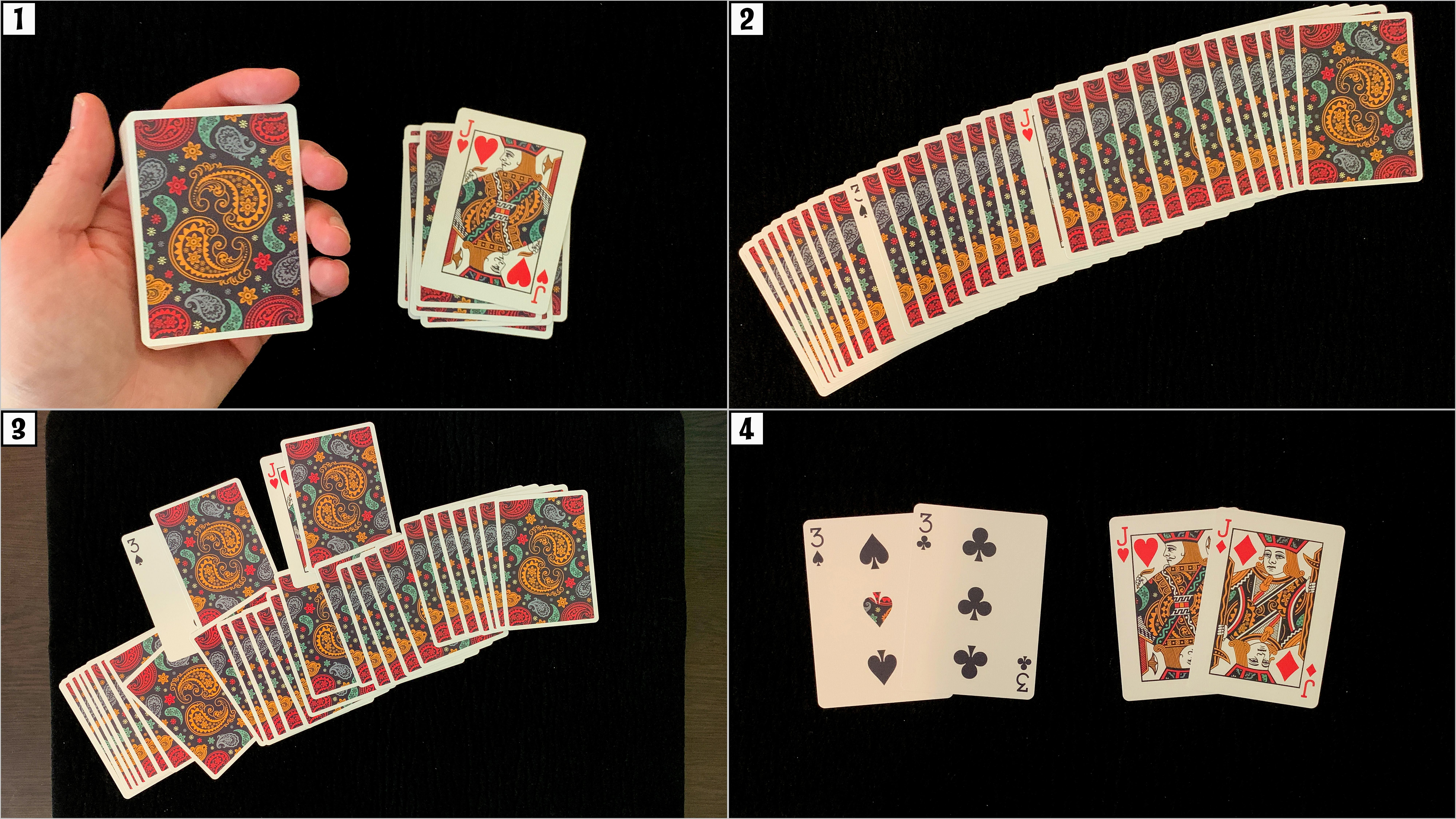 Playing cards are used to teach the classic gemini twins magic trick