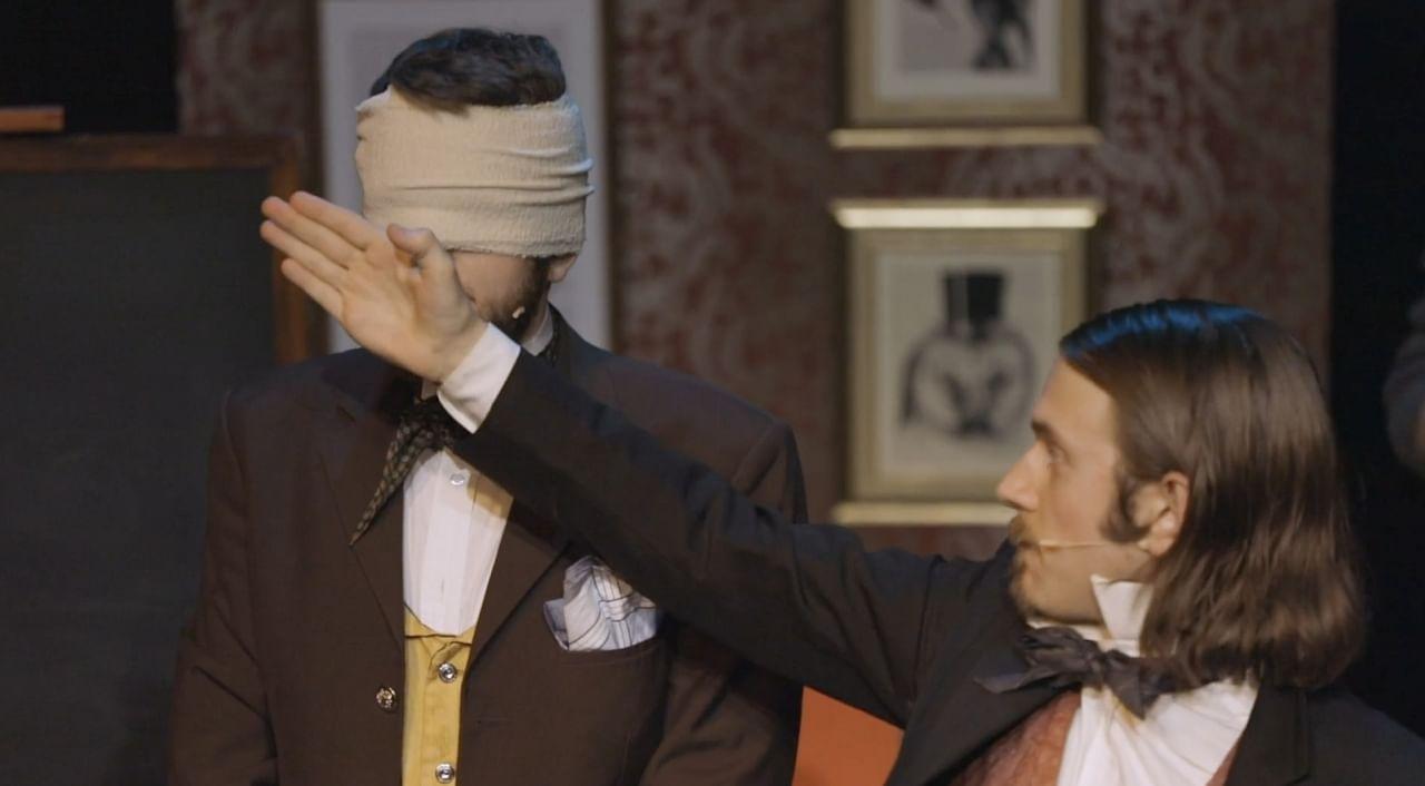 UK magicians Morgan & West perform a parlor magic trick using a blindfold