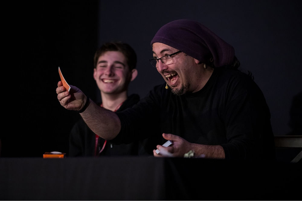 Close Up Magician Dani DaOrtiz astounds magicians at the 2019 Magifest Magic Convention in Columbus, Ohio with a variety of close up magic tricks and card tricks