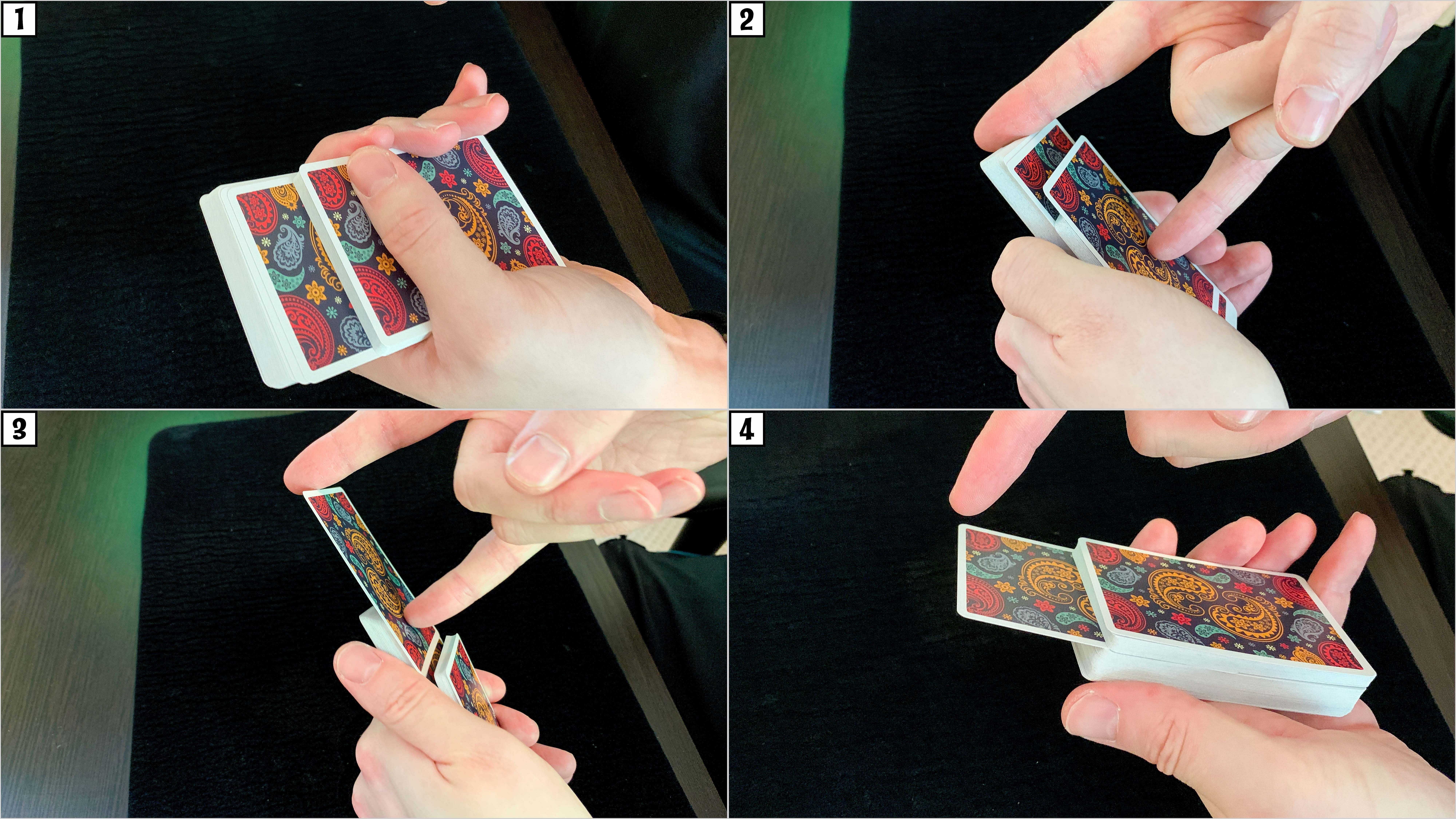 A playing card rises out of the middle of a deck of cards as part of the classic rising card trick