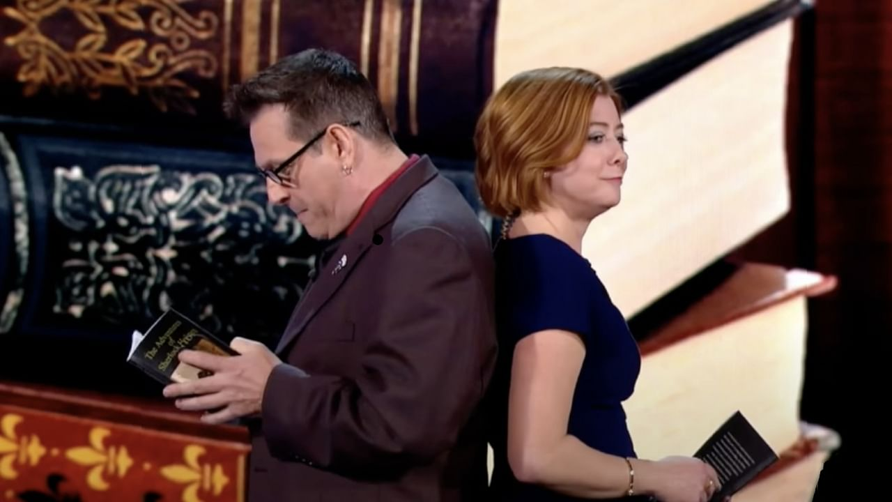 Magician Shawn Farquhar and alyson hanigan performing sheer luck book test on penn and teller fool us