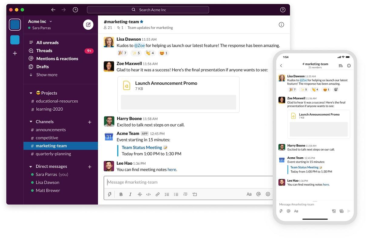 screenshot of Slack chat software desktop app and mobile app