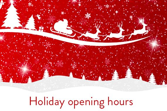 2019 Holiday Opening Hours