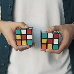 Two rubik's cubes match as part of a rubik's cube magic trick mentalist effect known as Venom Cube