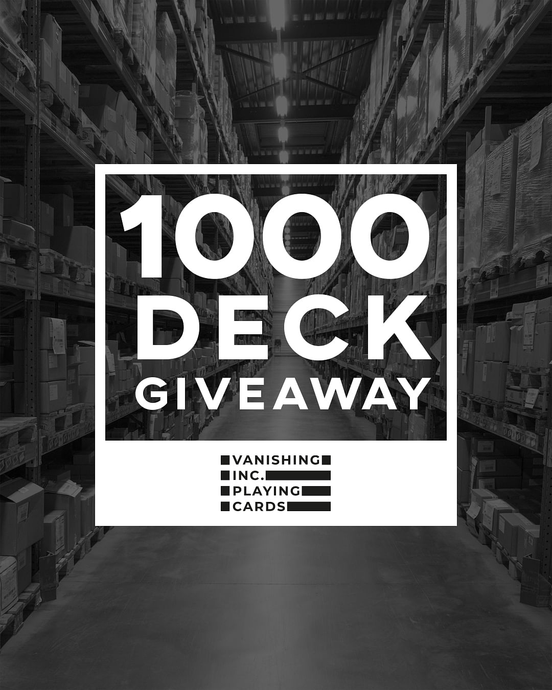 Announcement for a giveaway of a free deck of cards with any $10 purchase of the 1,000s of playing cards available