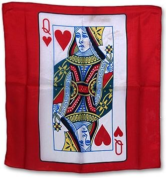 "18"" Queen of Heart Card Silk (Red) - magic"