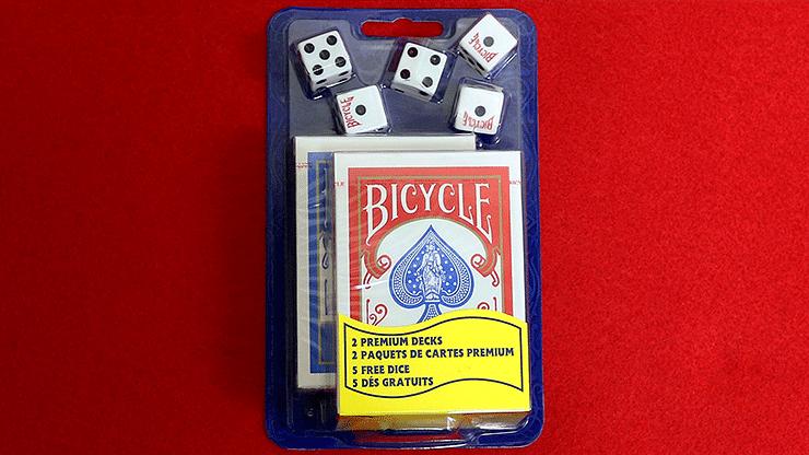 Bicycle 2 Decks Standard Poker and 5 Dice Set - magic