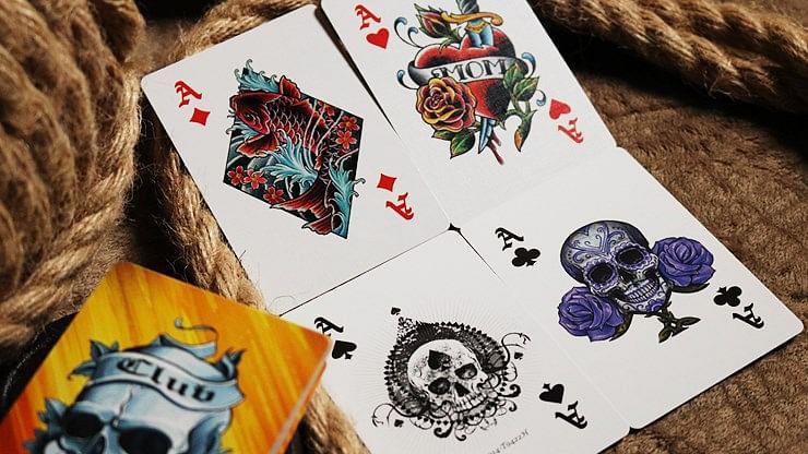 Bicycle Club Tattoo  Playing Cards (Orange)