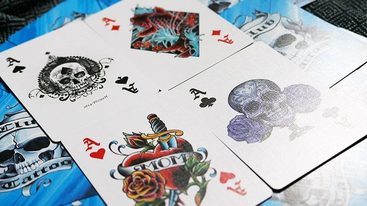 Bicycle Club Tattoo Playing Cards (Blue)