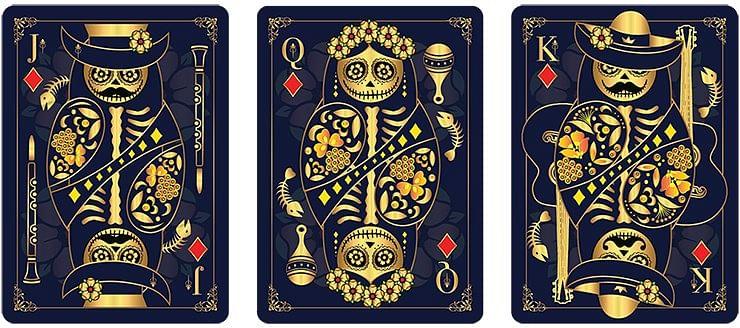 Calaveras de Azúcar Blue Edition Playing Cards Printed