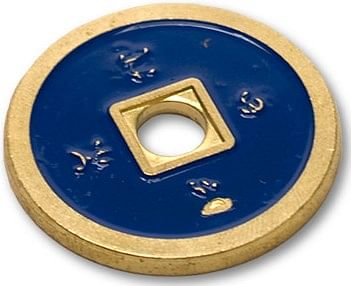 Chinese Coin  Blue & Red