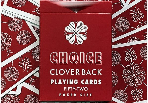 Choice Cloverback  Playing Cards (Red) - magic