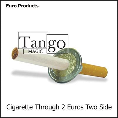 Cigarette thru Coin - 2 Euros - Premium - magic