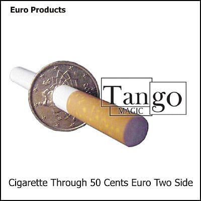 Cigarette thru Coin - 50 Euro Cents - Premium - magic
