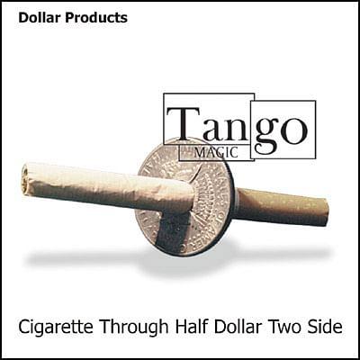 Cigarette thru Coin - Half Dollar - Premium - magic