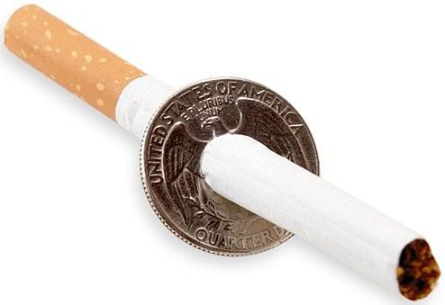 Cigarette Thru Quarter (One Sided)