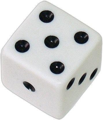 Die 1 White Economy w/ Black Spots 19mm - magic
