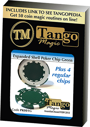 Expanded Shell Poker Chip Green (plus 4 Regular Chips) - magic