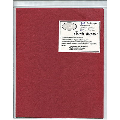 Flash Paper Red 20cm x 25cm (Five Pack) - magic