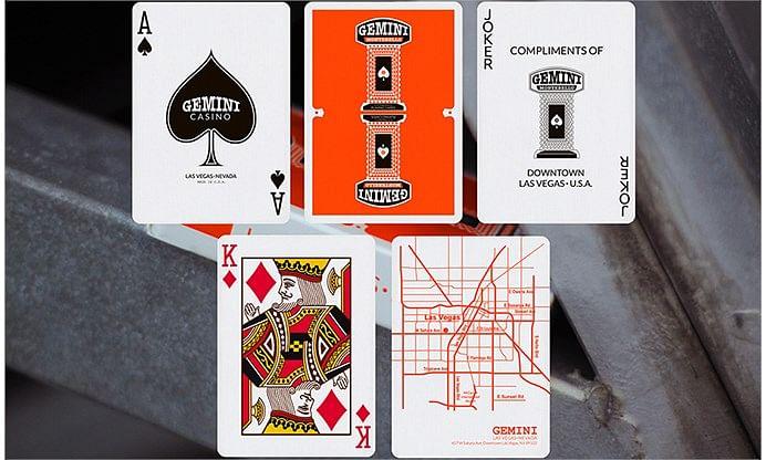 Orange Gemini Casino Playing Cards