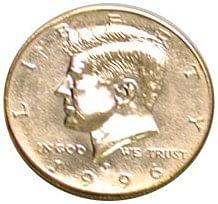 """Jumbo 7"""" Gold Half Dollar - magic"""