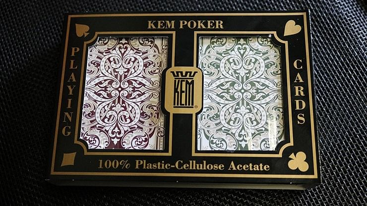 KEM Bridge Plastic Playing Cards - Jumbo Index (2 Deck Set) - magic