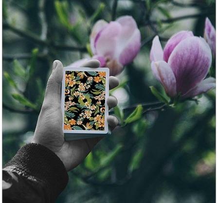 Black Flora Playing Cards