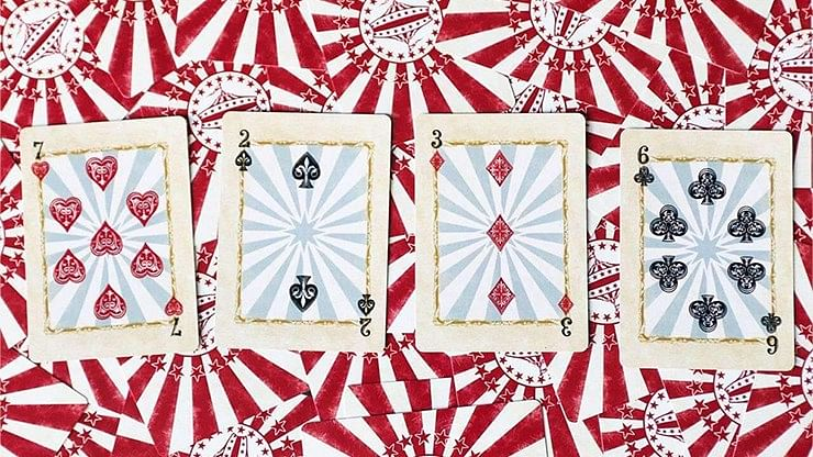 Circus Nostalgic Red Gilded Playing Cards