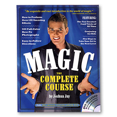 Close Up Magician Joshua Jay's book Magic: The Complete Course is a book for beginner magicians featuring a variety of magic tricks from card tricks to coin tricks, magic with dollar bills, rubber band magic, mind reading, mentalism and much more.