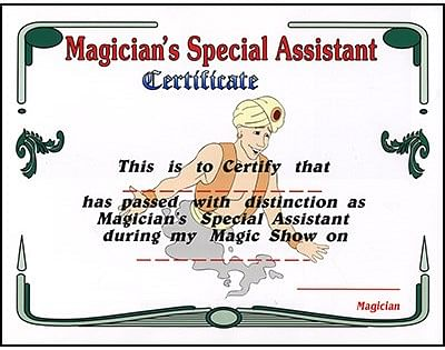 Magician's Assistant Certificate - magic