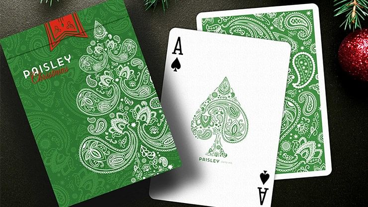 Paisley Metallic Green Playing Cards (Christmas Gift Box Set)