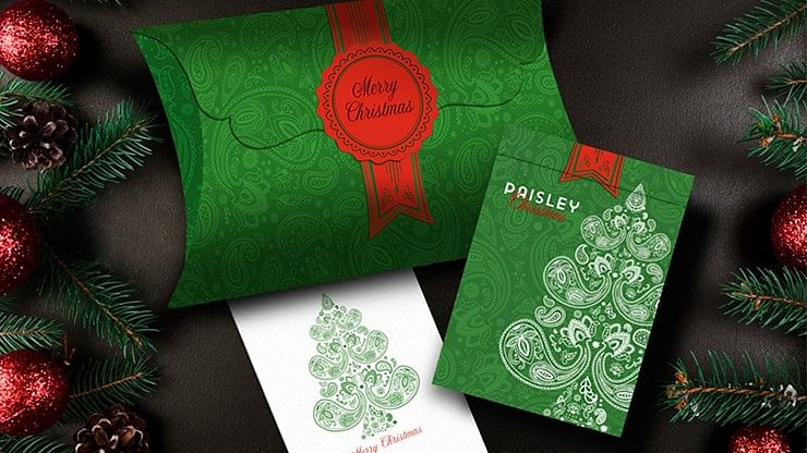Paisley Metallic Green Playing Cards (Christmas Gift Box Set) - magic