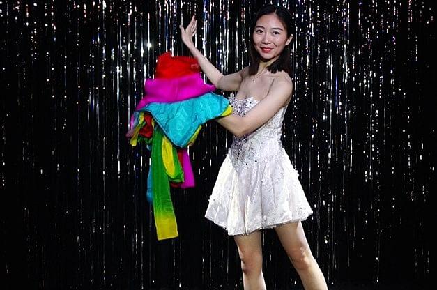 Rainbow Silk Fountain Streamer