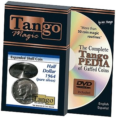Tango Silver Line Expanded Shell Silver Half Dollar 1964 (pure silver w/DVD- - magic