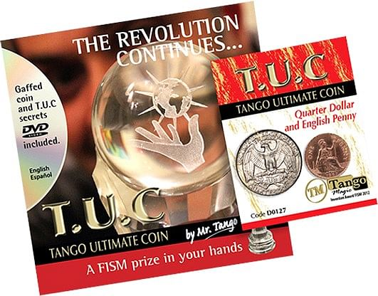 Tango Ultimate Coin  Quarter/Penny  with instructional DVD - magic