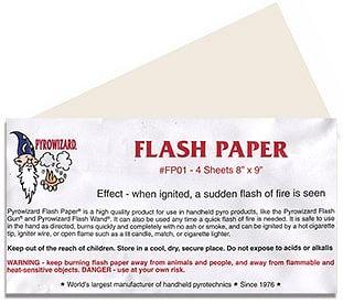 "Flash Paper Sheets - 4 sheets 8""x9"" - magic"