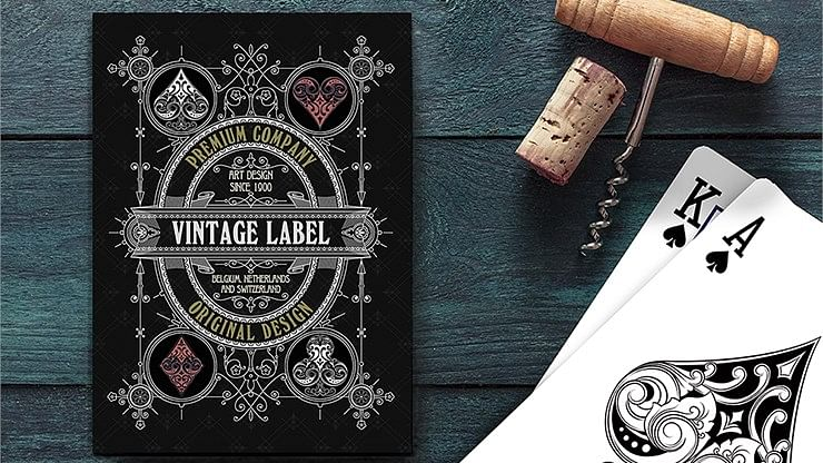 Vintage Label Playing Cards (Gold Gilded Black Edition) - magic