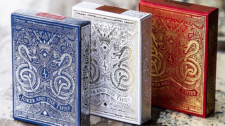 White Gold Edition Joker and the Thief Playing Cards  - magic