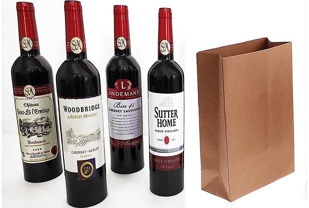 Wine Bottles From Paper Bag - magic