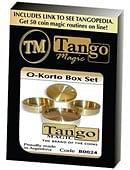 O-Korto Coin Box Set (Brass) - 1 Okito Coin Box / 1 German Coin Box / 1 Small Box Gimmicked coin